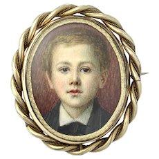 Large Victorian Handpainted Mourning Miniature Portrait Swivel Brooch