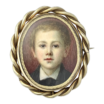 Large Victorian Handpainted Mourning Miniature Portrait Swivel Brooch