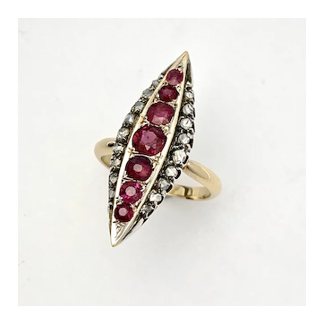 Victorian Gold Ruby and Diamond Navette Ring