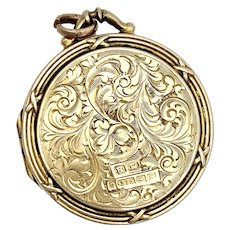 Edwardian 1917 9K Gold Round Photograph Locket Pendant