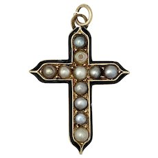 Victorian 9K Gold Enamel and Pearl Cross Pendant