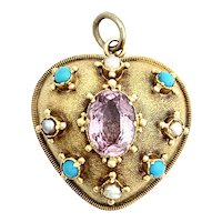 Victorian Turquoise, Pearl, Amethyst 9K Gold Heart Pendant
