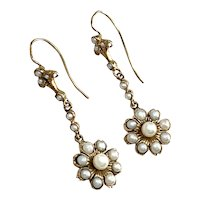 Victorian 9K Gold Pearl Drop Earrings