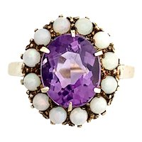 Antique Opal and Amethyst 9K Gold Halo Ring