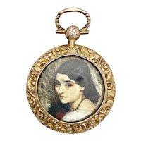 Victorian 9K Gold Portrait Locket Pendant