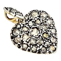 Rose Cut Diamond 18K Gold Heart Pendant