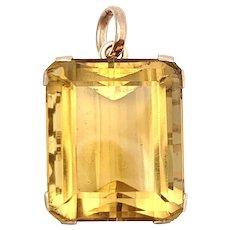 Vintage Rose Gold Golden Citrine Pendant