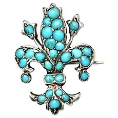 Small Victorian Silver Turquoise Fleur de Lis Brooch