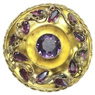 Victorian Amethyst and Almandine Garnet Gold Brooch