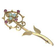 Antique 15K Gold, Opal and Almandine Garnet Brooch