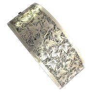 Victorian Aesthetic Movement Foliate Engraved Silver Bangle