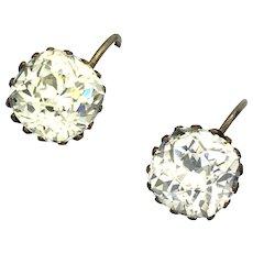 Georgian Paste Silver Gilt Earrings