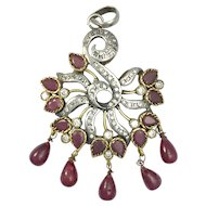 Vintage Indian Ruby and Sterling Silver Pendant
