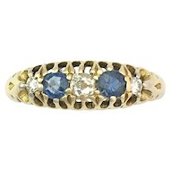Vintage 1923 Sapphire and Diamond 18K Gold Dress Ring