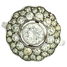Antique Edwardian Silver Paste Cluster Ring