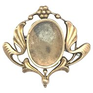Art Nouveau Rolled Gold Photo Frame Brooch