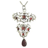 Antique Garnet-set Sterling Silver Necklace/Bow Dangle Brooch
