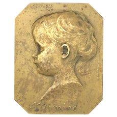 Antique 1906 Art Nouveau Bronze Plaque by Godefroid Devreese