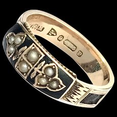 1898 Victorian 9K Gold Enamel and Seed Pearl Mourning Ring