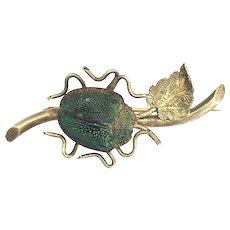Vintage Real Scarab Beetle Brooch