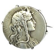 c.1890 French Art Nouveau Silver Brooch with Image of Velleda