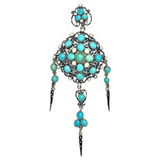 Large Early Victorian Turquoise, Seed Pearl and Enamel Pendant/Mourning Brooch