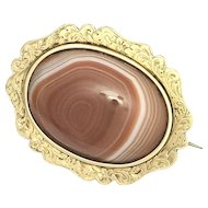 Antique Victorian 15K Gold and Banded Agate Brooch