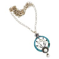 Antique Victorian Pavé Turquoise, Diamond and Pearl 18K Gold Pendant on 9K Gold Belcher Chain Necklace
