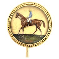 Antique Victorian 18K Gold Essex Crystal Horse Stick Pin