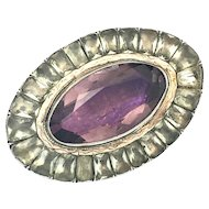Antique Georgian Silver and Rose Gold Paste Amethyst Brooch/Pendant