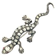 Art Deco Sterling Silver and Paste Salamander Lizard Brooch