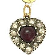 Antique Georgian 15K Gold, Silver, Heart-shaped Garnet and Rose-cut Diamond Pendant
