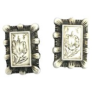 Antique Victorian Silver Aesthetic Period Screwback Earrings