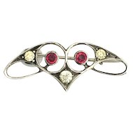 Art Nouveau Red Paste Silver Brooch