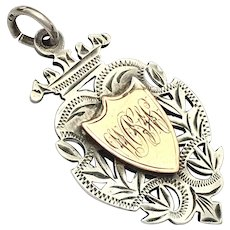 Antique Edwardian 1903 Sterling Silver and Rose Gold Watch Fob Medal