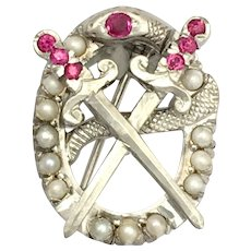 Vintage 10K White Gold Snake and Swords Brooch Set with Rubies and Pearls