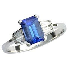 Vintage Art Deco Style 18K White Gold Diamond and Iolite Ring