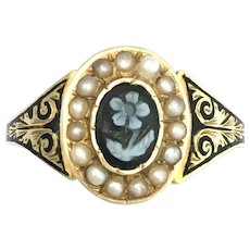 English Victorian 15K Gold Enamel and Seed Pearl Forget Me Not Mourning Ring