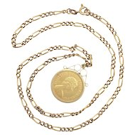 Vintage 22K Gold Queen Elizabeth Half Sovereign Coin on Gold Figaro Chain Necklace
