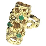 Vintage Modernist Emerald and 18K Gold Long Finger RIng