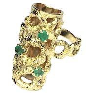 Vintage Modernist Emerald and 18K Gold Long Finger RIng