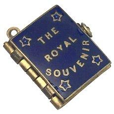Victorian Royal Family Souvenir Blue Enamel Photo Book Charm Pendant