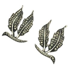 RESERVED •Art Deco Sterling Silver and Marcasite Double Leaf Clip Earrings