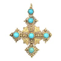 Antique Georgian Turquoise and 15K Gold Filigree Cross Pendant/Brooch