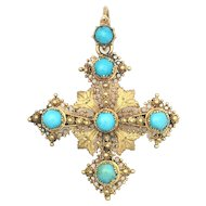 Antique Georgian Turquoise and 15K Gold Filigree Cross Pendant/Brooch