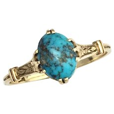 Antique Turquoise 14K Gold Ring