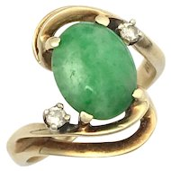 Vintage Diamond and Jade 14K Gold Ring