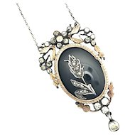 Antique Silver, Rose Gold, Onyx and Paste Pendant Necklace
