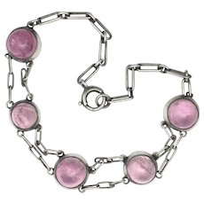 Early Art Deco Pink Tourmaline Cabochon Silver Bracelet