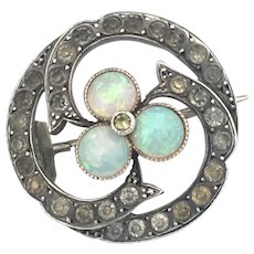 Antique Sterling Silver Opal and Paste Trefoil Swirl Brooch